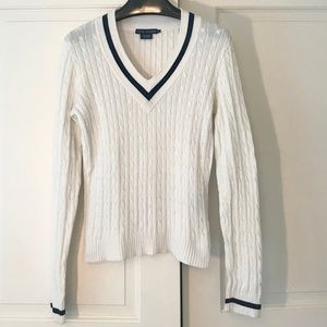 Ralph Lauren White and Navy Sweater, Size Large